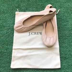 J. Crew Sz 9.5 neutral ballet flats leather Italy